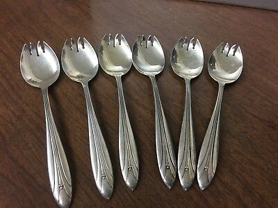 "6 International Silver Co ""Elsinore"" Ice Cream Forks Sterling Silver Pat.1930"