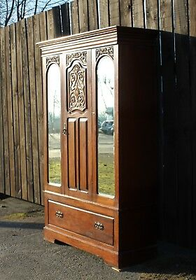 Victorian Walnut Mirrored Ornate Carved Wardrobe