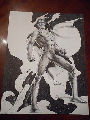 Original Comic Book Art Rudy Nebres Superman Commission - Signed & Dated
