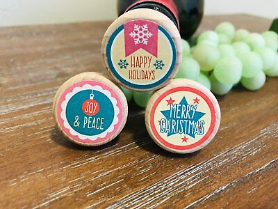 Retro Christmas Wine Stoppers, Wine Corks, Holiday Wine Stopper, Christmas Gift