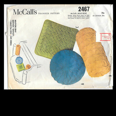 Vintage McCall's Pattern Three Smocked Pillows Round Square and Bolster