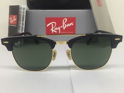 2c6da3a93b4ad Ray-Ban RB3816 Clubmaster Double Bridge Black  Gold Frame G-15 Lenses
