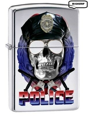 Police Badge & Sunglasses    High Polished Chrome    Zippo  Lighter - New In Box