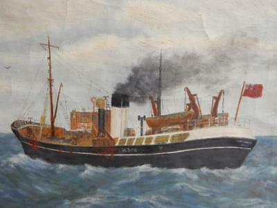 vintage OLD PAINTING oil HULL ship fishing signed G PEARSON