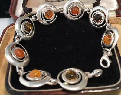 Vintage Art Deco Sterling Silver And Real amber cabochons link bracelet