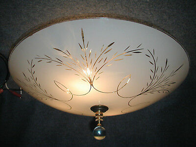 Fabulous 50S 60S Vtg Mcm Floral Atomic White Glass Shade 4 Light Ceiling Fixture