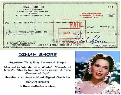 Dinah Shore  Singer  Film Star Actress  Hand Signed Cancelled  Cheque Rare  Item