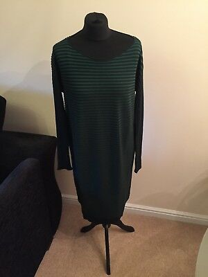 Cos Green And Black Striped Loose Fitting Dress Size  10 12 14 S Small BNWT