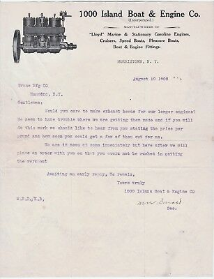 RARE Advertising Letter 1000 Island Boat Engine Co Morristown NY 1908 Thousand