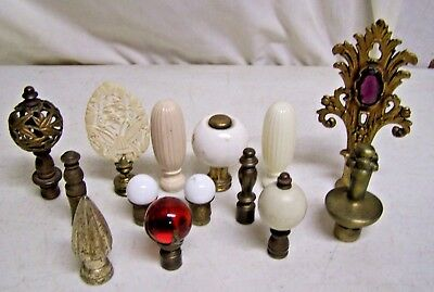 14 Vintage Antique Brass Lamp Finial Lot For Parts Or Use Jeweled Glass Ball Etc