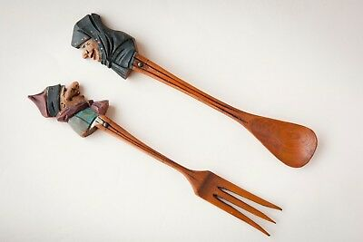 Vintage Anri ? Style Hand Carved Wood Salad Spoon And Fork Set