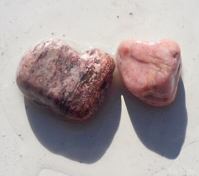2 Small Nice Heart Shaped Rocks From CO! PINK & RED! Gembone!+XTRAS
