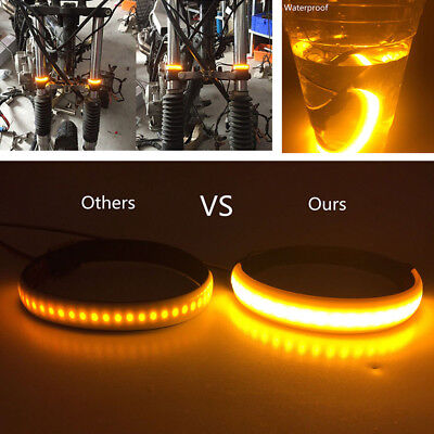 2x Motorcycle SMD LED Strip Clean Look Fork Turn Signal Indicator Light Blink