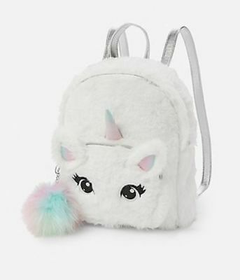 NWT Justice Girls Faux Fur Unicorn MINI Backpack! Perfect Gift!!