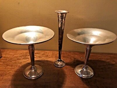Lot of weighted Sterling Silver candy dishes & Vase , 375 grams