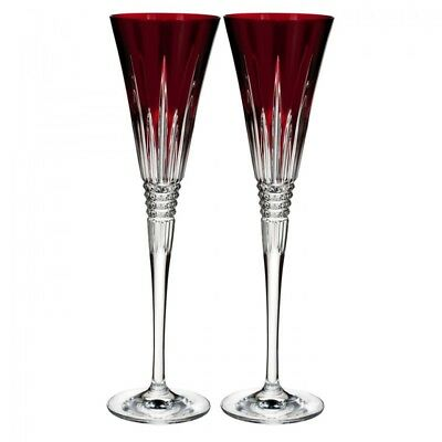Waterford Crystal LISMORE DIAMOND RUBY RED Champagne Flutes SET / 2 - NEW / BOX!