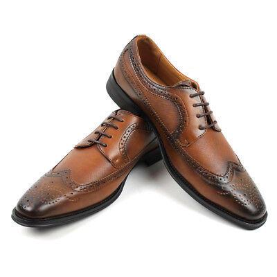 Men's Lace Up Dress Shoes Oxfords Wing Tip Herringbone Formal Santino C-386 NEW