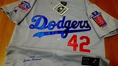 Cooperstown L A Dodgers  42 Jackie Robinson Dual Patch Stitched Jersey GREY 2431d7ead87