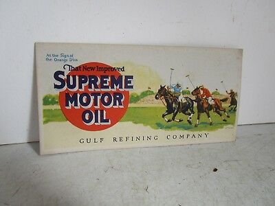 Vintage Advertising  Gulf Supreme Motor Oil Polo Rare Ink Blotter