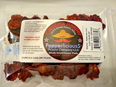 1 oz / 28.35g DRIED CAROLINA REAPER Pods WORLDS HOTTEST PEPPER Super Hot Quality