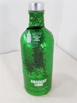 ABSOLUT VODKA Lime Green & Silver Sequin Bottle Cover 750ml 2018 Limited Edition