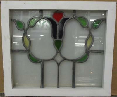 "OLD ENGLISH LEADED STAINED GLASS WINDOW Nice Abstract Floral Wreath 19.75"" x 17"""