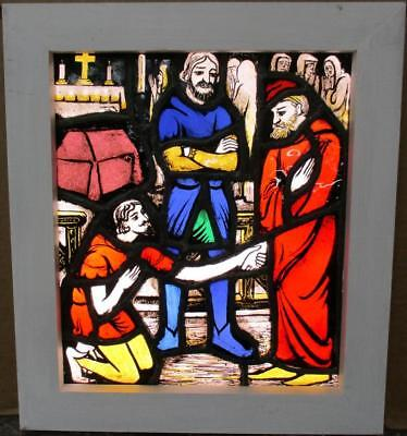 "OLD ENGLISH LEADED STAINED GLASS WINDOW Medieval Characters 15.5"" x 17.5"""