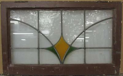 """OLD ENGLISH LEADED STAINED GLASS WINDOW TRANSOM Simple Geometric 30.25"""" x 18.75"""""""