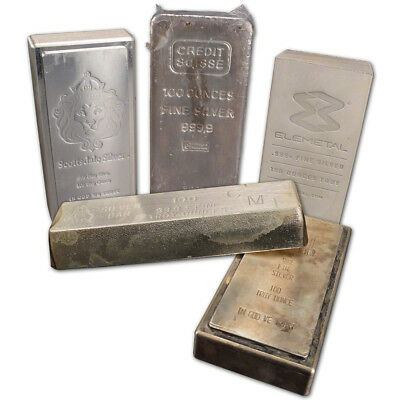 100 oz. Silver Bar - Random Brand - Secondary Market - 999 Fine