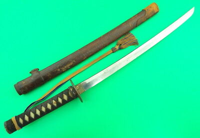 Very Old Japanese Samurai Sword With Ww Ii Officer's Scabbard And Tassel (26)