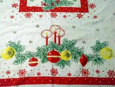 VINTAGE CHRISTMAS TABLECLOTH with Shiny Brite Ornaments & Candles 57 X 66 inch