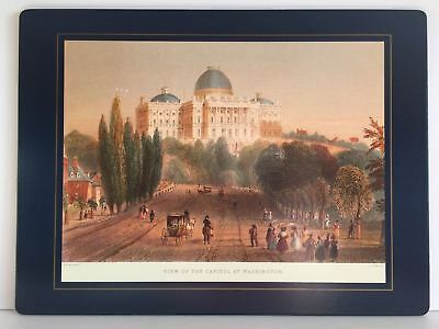 1837 View of the Capitol at Washington Placemat by Lady Clare England Rare Vtg