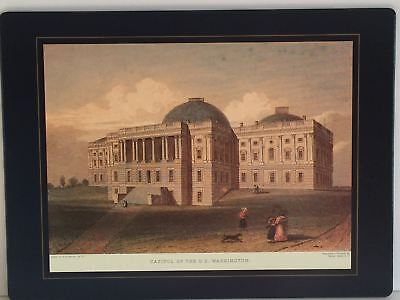1831 Capitol of the US Washington Placemat by Lady Clare England Rare Vintage
