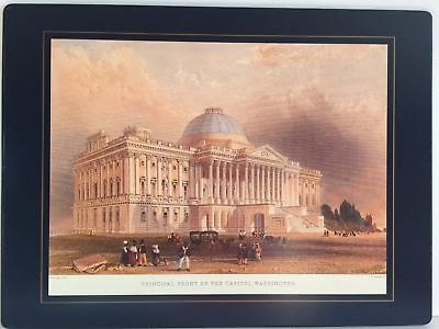 1839 Principal Front of the Capitol Washington Placemat Lady Clare England Vtg