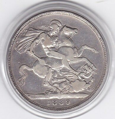 1889  Queen  Victoria Large Crown / Five  Shilling  Silver  Coin