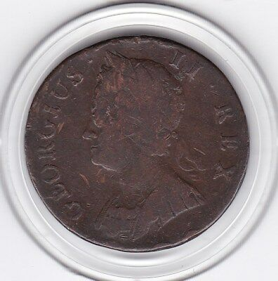 1740   King  George  II   Half  Penny   Copper  Coin