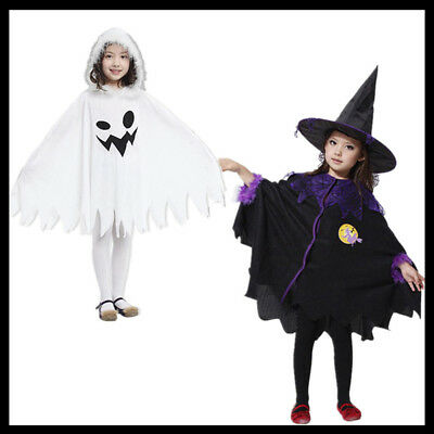 Halloween Witch Gown Costume Child Girls Boys Wizard Cloak Cape Cosplay Hat Cap