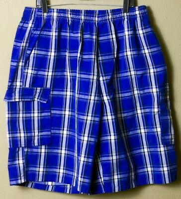 Shaka Wear Men's Casual Cargo Shorts Plaid Loose Fit Checkered Blue 4XL