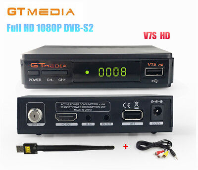 GTMEDIA V7S HD 1080P DVB-S2 Digital Receiver PowerVu,YouTube +AV cable +USB WiFi