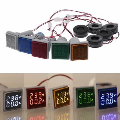 LED Digital Dual Display Voltmeter Ammeter Voltage Gauge Meter AC 60-500V 0-100A