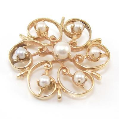 Vintage 14K Yellow Gold Swirl Scroll Pearl Pin Brooch