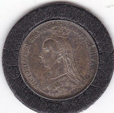Sharp  1889   Queen  Victoria    Sixpence  (6d)  Silver  (92.5%)   Coin