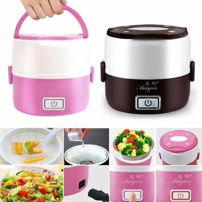 Mini Portable 2 Layer Electric Lunch Box Steamer Pot Rice Cooker Stainless Steel
