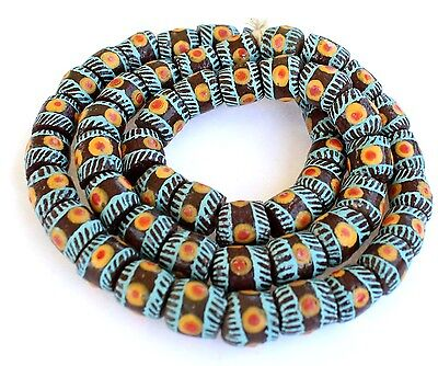 Ghana African Matched brown Turquoise banded Recycled glass trade beads-Ghana