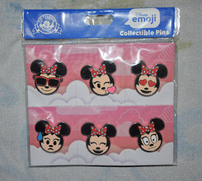 MINNIE MOUSE Emoji Booster pack Disney 6 pin lot NEW