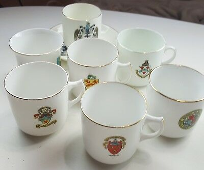 WH Goss, Willow Art, Florentine, Arcadia, Heraldic small vintage cups, one plate