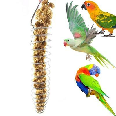 Stainless Steel Parrot Pet Birds Food Basket Foraging Apparatus Parrot Toy Gift