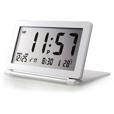 Large Snooze Digital LCD Folding Flip Travel Alarm Clock w/ Thermometer Calendar