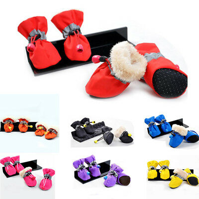 4pcs Waterproof Pet Dog Winter Warm Snow Booties Puppy Anti-Slip Boots Shoes