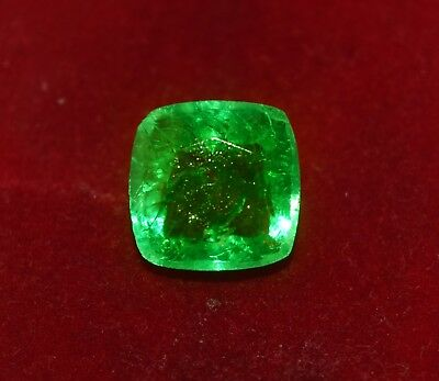 6.70 cts GGL certified Natural Green Emerald, Cushion shape Zambian Gem